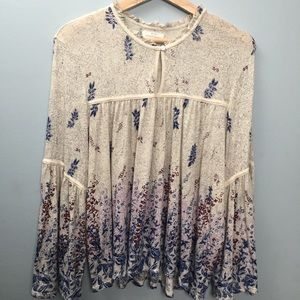 Peasant Top Bell Sleeve Lucky Brand Size Large